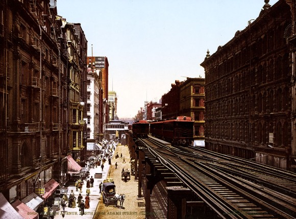 Wabash Ave north from Adams Street, Chicago. The Elevated Railroad, or 'L' (or El), in Downtown Chicago, better known as The Loop