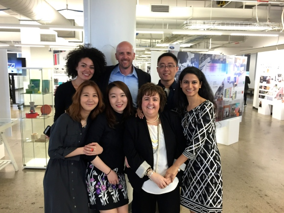 Tara Ellis, Robert Beyer, Haodi Xue, Sanchari Mahapatra, Stacy Evans, Eunice Kim and Sophia Park (Clockwise from back row LHS)